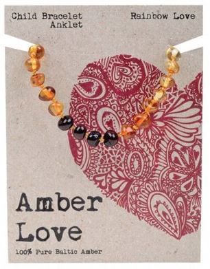 Child's Bracelet Amber Love 100% Pure Baltic Amber - Rainbow Love