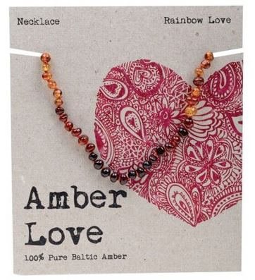 Child's Necklace Amber Love 100% Pure Baltic Amber - Rainbow Love