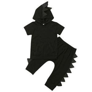 Dinosaur Kids Baby Boy Clothes Set 2019 Newborn Summer Hooded Short Sleeve Black Solid T-shirt Tops Pants Trousers Outfit 2PCs