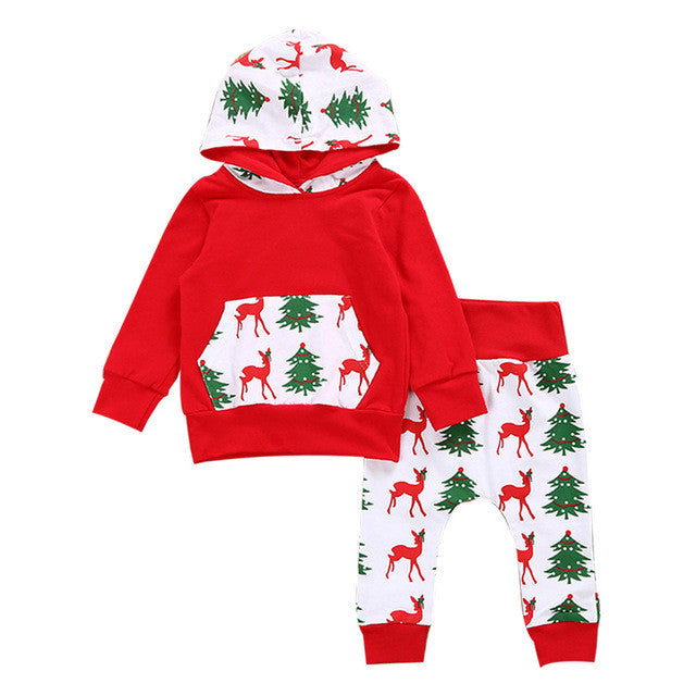 Red Baby Girls Boys Deer Outfits Hooded Hoodie Tops+Pants Bodysuit Set Unisex Kids Clothes Christmas Style tree pattern