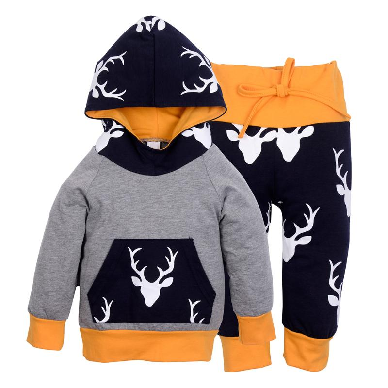2pcs Christmas Baby Clothing Autumn Winter Kids Girl Boy Reindeer Hooded Sweatshirt Tops and Pants Set Outfits Set Clothes