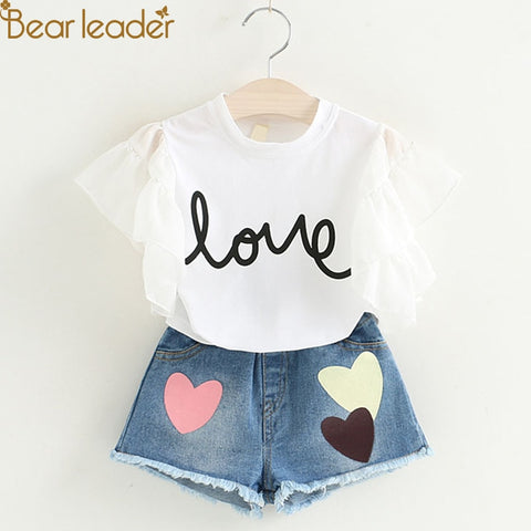 Girls Clothing Sets 2018 New Summer Short T-shirt+Love Print Pants