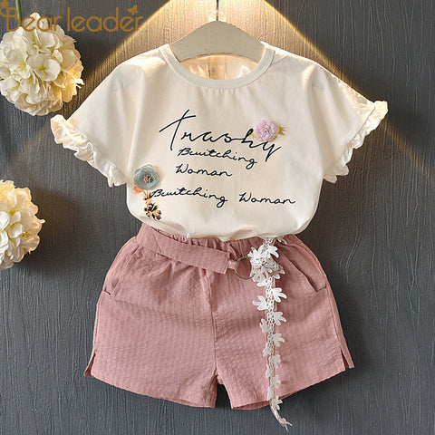 Girls Clothing swag Sets  2018 New Summer Kid Clothes Set Cartoon Children Clothing Toddler Girl Tops+Shorts