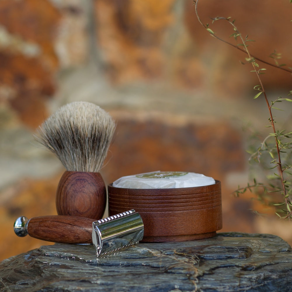 Men's Safety Razor - Wood & Chrome-NZ Native Oils Ltd