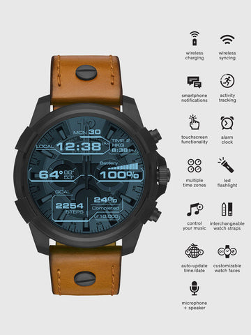 On Full Guard Touchscreen Smartwatch (Black/Tan Leather)
