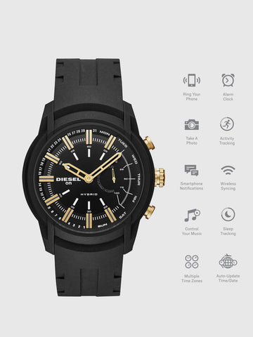 Armbar Hybrid black silicone smartwatch, 44 mm