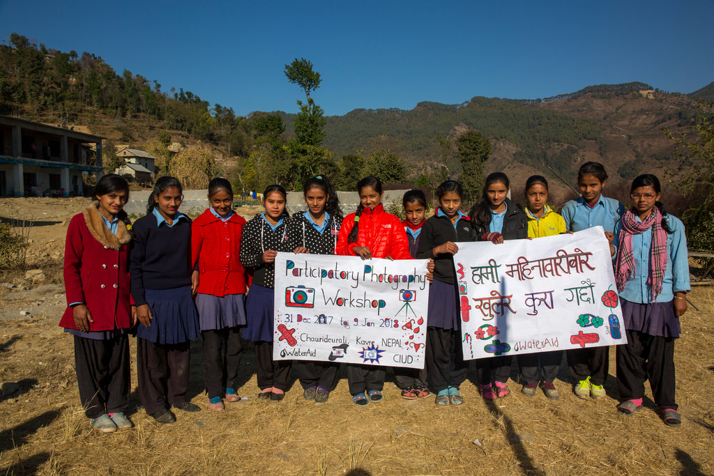 Group shot of some of the girls that took part in the photography project in Nepal