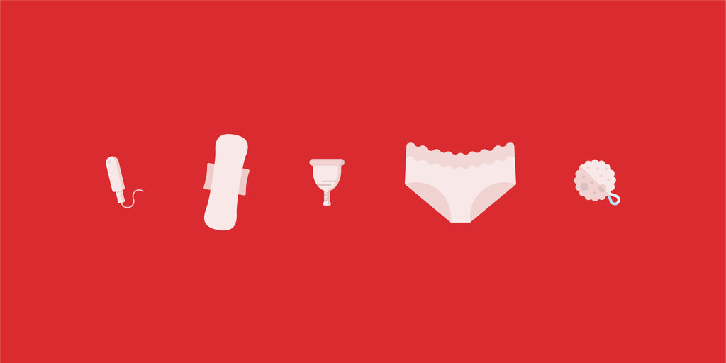 A variety of period products alternatives, such as period pants and menstrual cups.