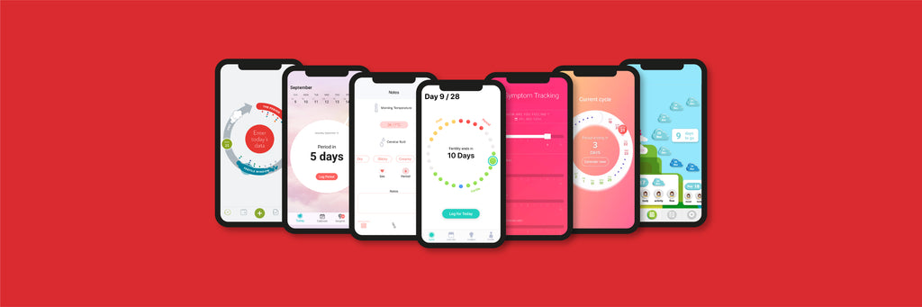 Screenshots of our 7 favourite period tracking apps