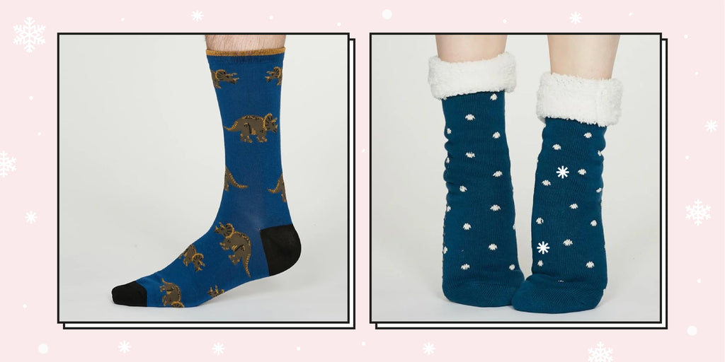 Thought Clothing's Dinosaur Socks and Cotton Cabin Socks