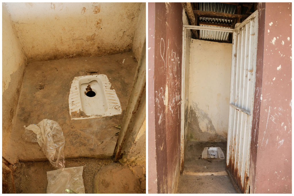 Inside the current toilet at Selam Ber Kindergarten and Elementary School, which is a long drop toilet with no running water