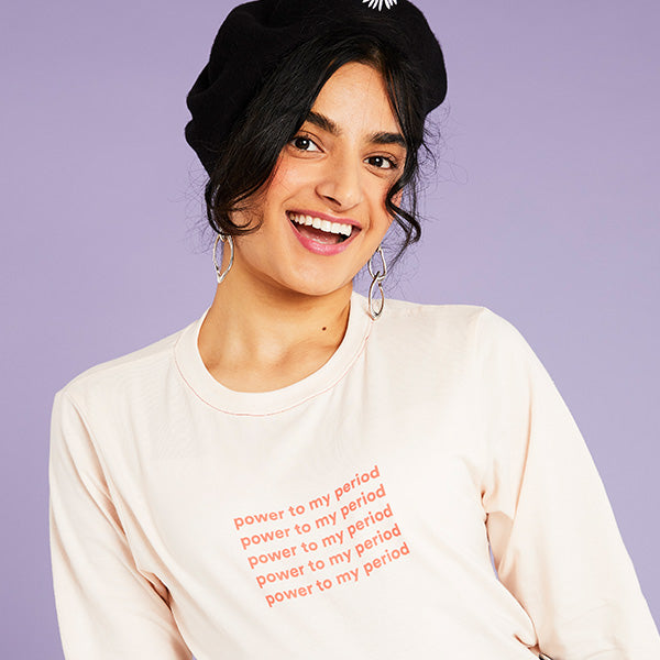 'Power to my period' Unisex Long-Sleeve Tee