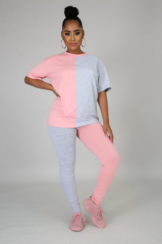 Two Side Chill Legging Set (Pink/Grey)