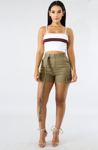 Buckle Up Cargo Shorts - Olive