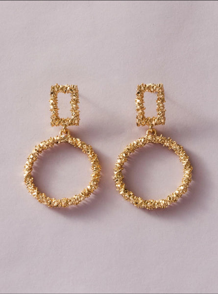 Square & Round Drop Earrings