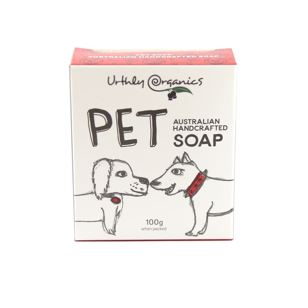cardboard box with cartoon drawings of 2 dogs. box contains pet soap