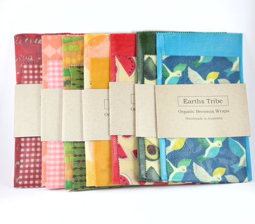 7 various coloured beeswax wraps
