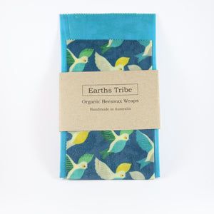 2 pack of blue beeswax wraps