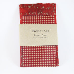 2 pack of red beeswax wraps