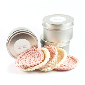 3 silver tins with 5 round crocheted facial wipes surrounding tins