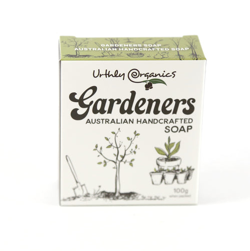 cardboard box containing a single soap bar for gardeners