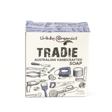Load image into Gallery viewer, cardboard box containing tradie soap. Box decorated with various tools
