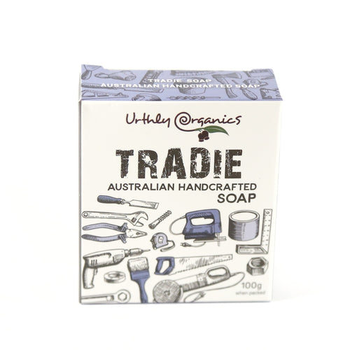cardboard box containing tradie soap. Box decorated with various tools