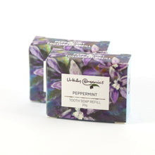 Load image into Gallery viewer, 2 small cardboard boxes labelled peppermint tooth soap refill