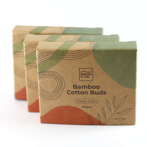 3x rectangular cardboard boxes labeled 'bamboo cotton buds. organic cotton. 100pcs'