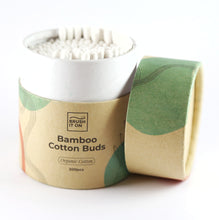Load image into Gallery viewer, singular cylindrical cardboard tube with lid off revealing 200 cotton tips inside. white background. tube labeled 'bamboo cotton buds'