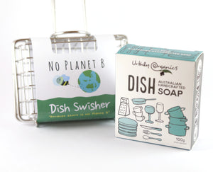 single dish swisher - wire cage with handle. cage fits a block of soap. designed to swish around in sink to create suds to wash dishes. Next to dish swisher is a block of dish washing soap