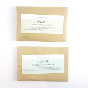 2 small brown envelopes containing face mask powder