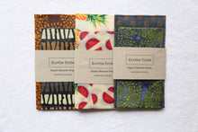 Load image into Gallery viewer, 3 various patterned beeswax wraps