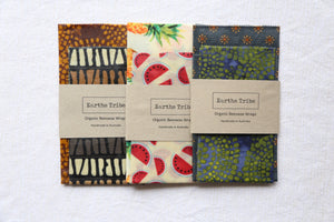 3 various patterned beeswax wraps