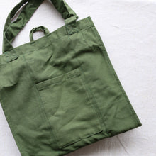 Load image into Gallery viewer, white background with earthy green reusable shopping bag