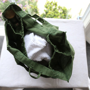 birds eye view of partitioned bag showing how rectangular bag is separated into 5 sections