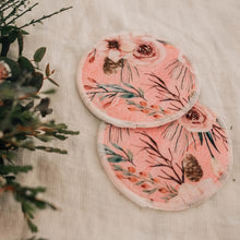Load image into Gallery viewer, 2 round breast pads of floral design