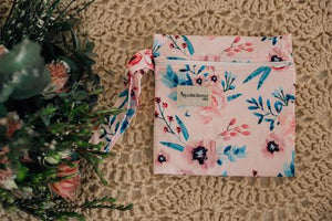 Square shaped floral printed wet bag