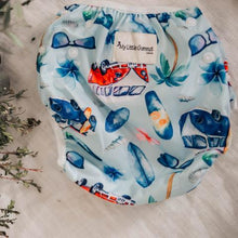 Load image into Gallery viewer, combi van and surfboard print on swimming nappy