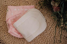 Load image into Gallery viewer, Pink cloth nappy with white insert on top