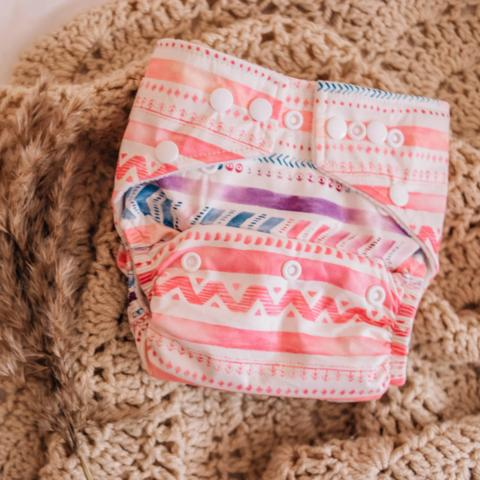 My Little Gumnut: Modern Cloth Nappy - Aztec Pink/Purple