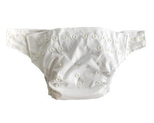 Load image into Gallery viewer, A plain white cloth nappy showing the snap buttons that allows the nappy to fit all ages