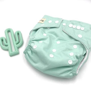 a pale aqua cloth nappy