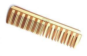 wooden comb with fine teeth on one side and wide teeth on the other