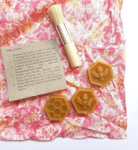 beeswax hexagons, brush, fabric and instructions
