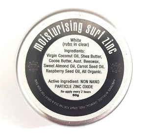 Single tin with ingredients of zinc listed on label. Ingredients include coconut oil, shea butter, cocoa butter, beeswax, sweet almond oil, carrot seed oil, raspberry seed oil, non nano particle zinc oxide