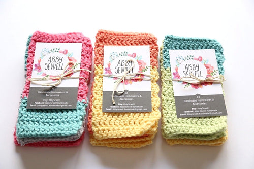 3 colourful crocheted cloths