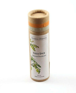 "single cardboard deodorant tube labelled ""coco spice"""
