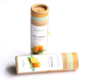 "2 cardboard tube deodorants. Label states ""coco l'orange""'"