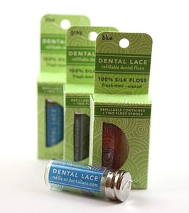 Dental Lace: Glass Refillable Floss Canister